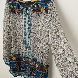 Lucky Brand Floral Blouse (Size L)